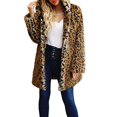 Abrigo de Piel sintética Leopardo Chaqueta de Invierno cálido Estilo Europeo y Americano STRIR