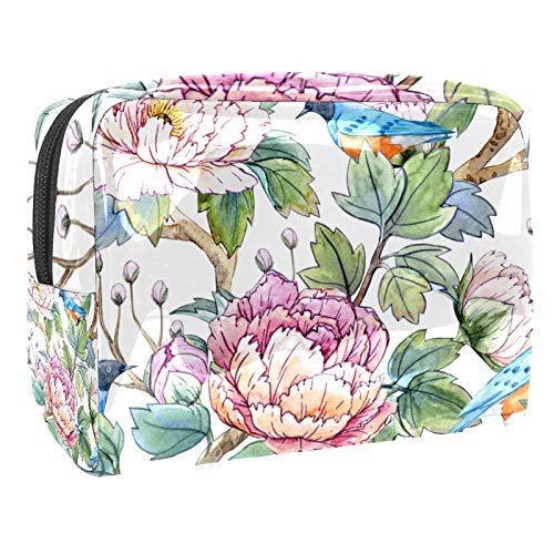 Bolsa de maquillaje portátil con cremallera bolsa de aseo de viaje para las mujeres práctico almacenamiento cosmético bolsa china peonías pájaro