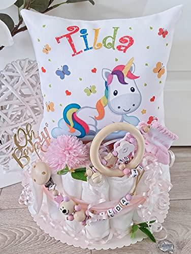 Luiertaart met naam - knuffelkussen eenhoorn I fopspeenketting & grijpling - cadeau, babyshower, geboorte of doop + op verzoek gratis wenskaartjes
