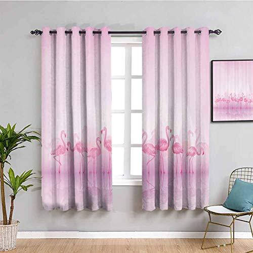 Colección de decoraciones de flamencos paneles de cortina de reflexión de flamencos caribeños sobre lago y pájaros, cortina de baño rosa de 84 x 84 pulgadas