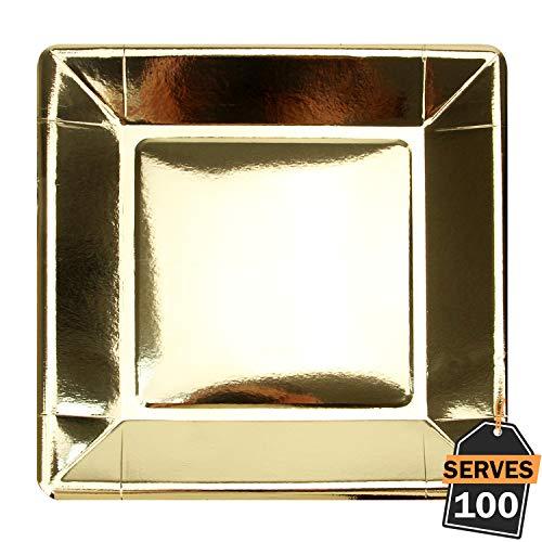 Packung 100 Gold-Einweg-Pappteller aus glänzender Folie, Quadratische 9
