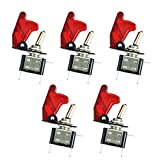 ESUPPORT Car Red Cover Red LED Light Rokcer Toggle Switch SPST ON Off Pack of 5