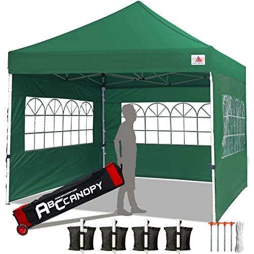 ABCCANOPY Tents Canopy Tent 10 x 10 Pop Up Canopies Commercial Tents Market stall with 3 Removable Sidewalls and 1 Door Wall Bonus 4 Weight Bags, 4 Stakes and Upgrade Roller Bag, Grass Green