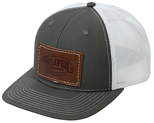 Weaver Leather Livestock Mesh Back Cap with Leather Patch, Charcoal/White, Average