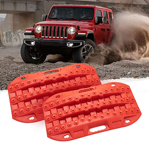 BUNKER INDUST Off-Road Traction Boards, 2 Pcs Recovery Tracks Traction Mat for 4X4 Jeep Mud, Sand, Snow Traction Ladder-Red Tire Traction Tool