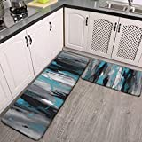 QIAOQIAO 2 Pcs Kitchen Rug Set, Teal Gray Black and White Abstract Non-Slip Kitchen Mats and Rugs Soft Flannel Non-Slip Area Runner Rugs Washable Durable Doormat Carpet