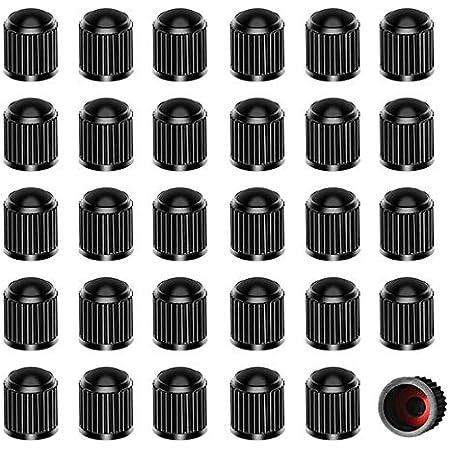 nuoshen Lot de 30 Bouchons Valve Pneu en Plastique, Bouchons de Pneu avec Joint d'étanchéité pour SUV Vélo Moto Camions 10 * 12.55mm