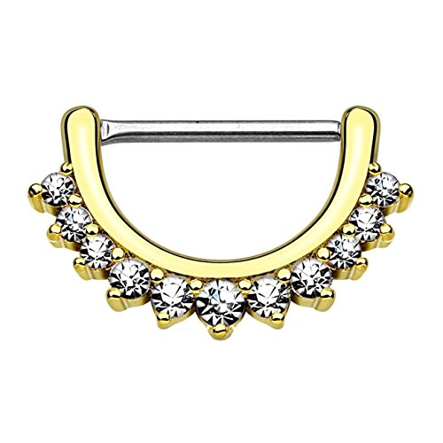 beyoutifulthings Brustwarzen-Piercing ZIRKONIA-Reihe Brust-Piercing Edelstahl Gold Clear Stab 1,2mm 12mm klick-Verschluss