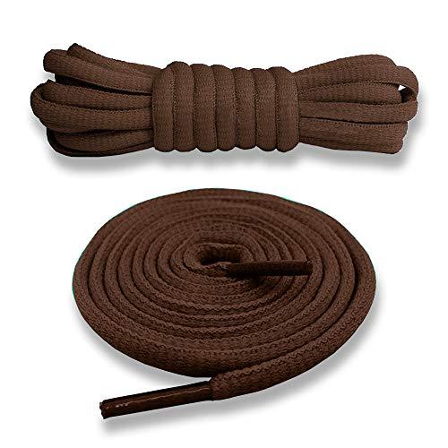 Junlic Schnürsenkel Rund, [3 Paar] Reißfest Ersatz Schuhbänder 100% Polyester 6 mm breit Schnürsenkel für Sportschuhe und Sneaker Braun