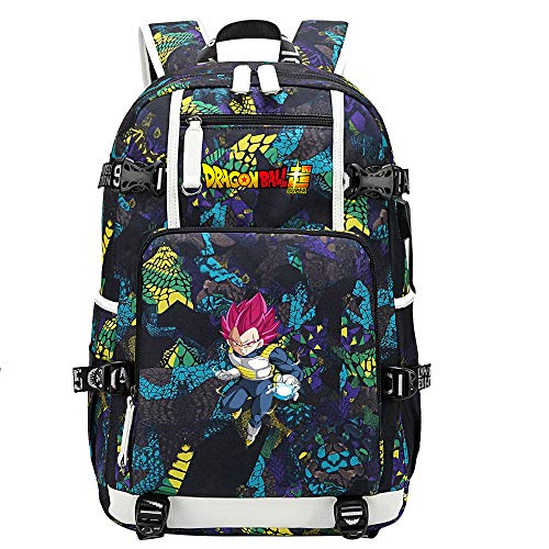 ZZGOO-LL Dragon Ball Son Goku/Vegeta IV/Torankusu Anime Backpacks Student School Bag Laptop Backpack with USB Charging Port-D