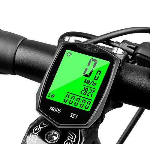 Bike Computer, Wireless Bicycle Odometer Cycling Speedometer, Backlight Display Auto Wake Up Waterproof 22 Multifunctions for Tracking Riding Speed Distance Time Calories
