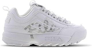 FILA Disruptor II Script Women's Sneakers, White/Silver