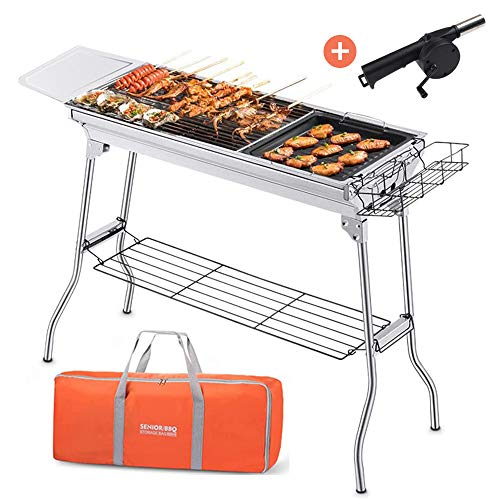 Lightweight charcoal BBQ portable BBQ stainless steel foldable barbecue grill [with Barbeque Air Blower], suitable for outdoor campers, barbecue lovers, travel, parks, beaches, wild
