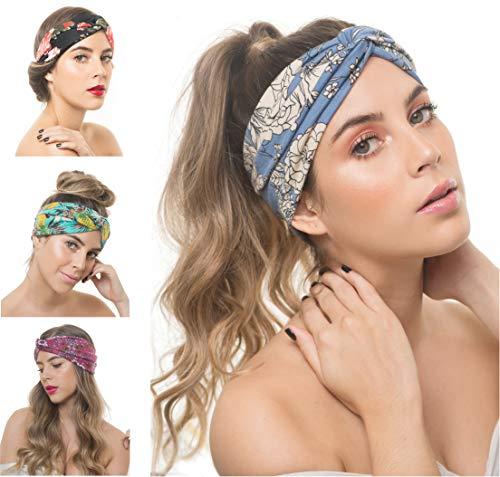 Osattia 4 Stück Damen Boho Stirnband Elastisches Haarband Böhmisches Blume Gedruckt Stirnbänder Knoten Verdrehtes Breites Dehnbares