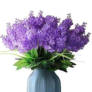 YXYQR Silk Artificial Flowers Bouquet Fake Wisteria Flowers Floral Arrangement for Home Wedding Vase Centerpieces Table Decoration (6 Pack, Light Purple)