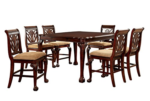 Furniture of America Bonaventure 7-Piece Traditional Style Pub Dining Set