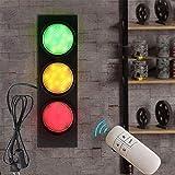 VOMI Retro Industriale Semaforo Applique da Parete con Interruttore e 1.8m Spina, LED Lampada da Parete con Telecomando Luci Regolabili Traffic Light Segnali stradali Luce di allarme Illuminazione