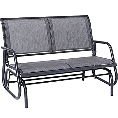SUPERJARE Outdoor Swing Glider Chair, Patio Bench for 2 Person, Garden Rocking Seating - Light Grey