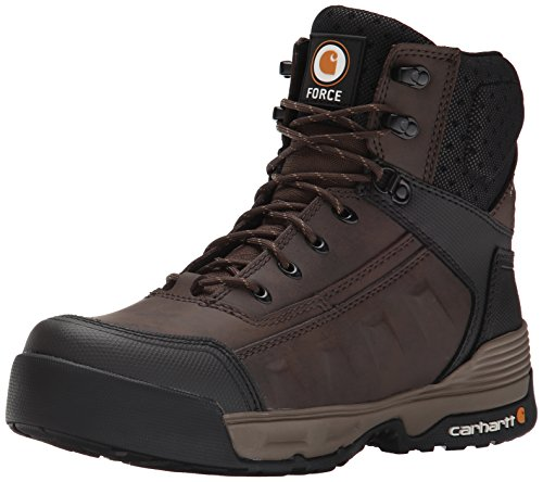 """Carhartt Men's 6"""" Force Light Weight Waterproof Work Boot CMA6046, Brown Coated Leather, 14 M US"""
