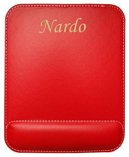 Almohadilla de cuero sintético de ratón personalizado con el texto: Nardo (nombre de pila/apellido/apodo)