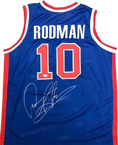 Dennis Rodman Signed Autographed Jersey JSA Authenticated Blue/Red - Autographed NBA Jerseys
