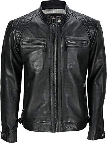 Giacca trapuntata in vera pelle morbida | Giacca da moto antica in pelle da uomo | Giacca in pelle vintage con zip Nero M