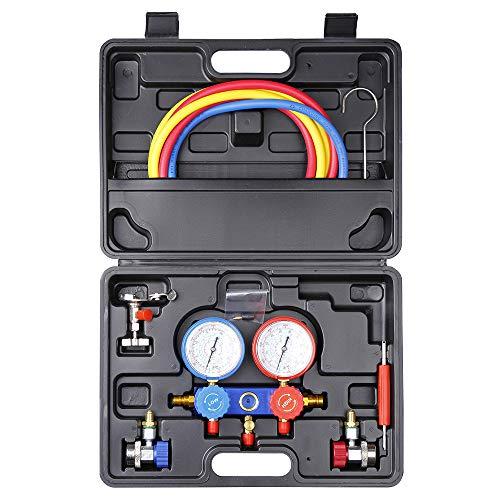 Kit de refrigeración automotriz de calibrador de múltiple de aire / acondicionado de aire acondicionado A/C Kit de refrigeración AC Colector de Manometro Aire Acondicionado para R134a R22 R410