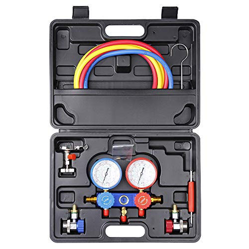 BANG4BUCK Universal Diagnostic Manifold Gauge Kit HVAC Air Conditioning Charging Service Set Ideal for R134A R404A R22 R410A (Complete Manifold Gauge Kit - Black Case)