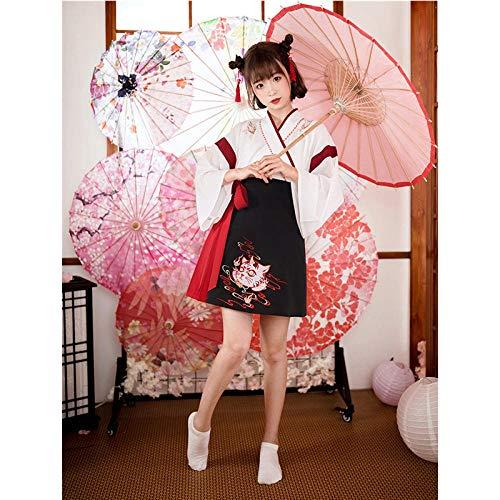 Japonesa Vestido Kimono Mujer Negro Gato Blanco Bordado Dulce Yukata del Partido De Cosplay Haori Ropa Asiática De La Vendimia 2Pieces Set ZZBiao (Color : White, Size : S)
