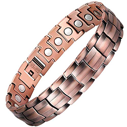 Feraco Elegant 99.99% Pure Copper Bracelet for Men Wide Copper...