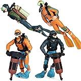 SIENON Scuba Diver Figurines, 4pcs Underwater Adventure Diver Action Figure Playset, Mini Swimmer Figurines for Ocean Scene Layout Ornaments, Miniature Sand Table, Ocean Party,Sea Cake, Bath Pool Toy