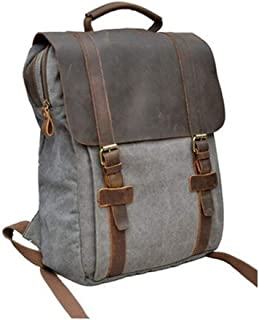 WENQU Canvas and Leather Prominent Canvas Backpack Shopping Fashion Trend Travel Bag Fashion Backpack for Men (Color : Khaki, Size : S)