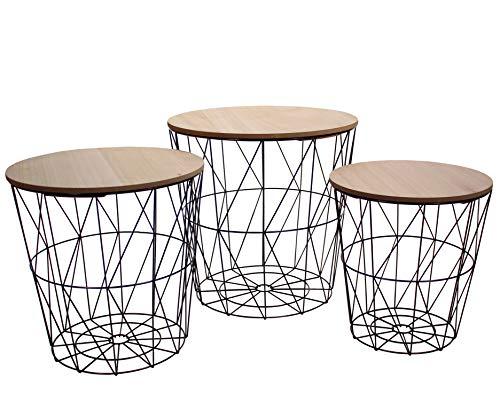 CREOFANT 3er Set Tisch Metall Schwarz · Beistelltisch Metall · Couchtisch mit Stauraum · Beistelltisch · Nachttisch · Tische Industrie Design · Metalltische · Metallkorb Holz Deckel (3er Set Tische)