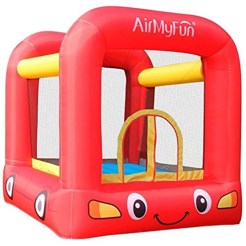 AirMyFun - Castillo Hinchable para Cama elástica Infantil con Ventilador y Bolsa de Almacenamiento, diseño de Jumpy Car de Jumpy Rojo Amarillo A82005