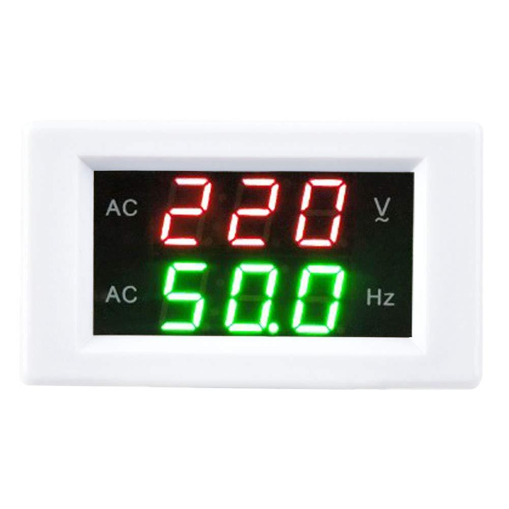 Display LED Digital AC Voltmeter Ammeter,Generator Dual Voltage Frequency Meter,Detector Voltage Current Meter Panel Amp Volt Gauge(White)