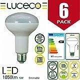 Luceco - Bombilla LED de 12 W (80 W, R90, intensidad regulable, casquillo E27, 1050 lúmenes, 2700 K, luz blanca cálida, clase energética A+), color blanco