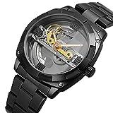 Excellent Reloj mecánico Completamente automático para Hombres con Correa de Acero Inoxidable Reloj de Pulsera Reloj Reloj Hombre Dial Hollow Impermeable,Negro