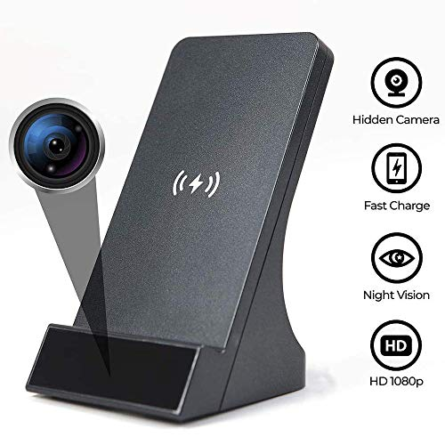 WIRELESS CHARGER WITH HIDDEN SECURITY CAM