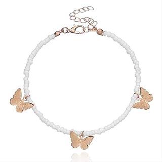 1pc Bohemian Style Perline Decor Caviglia Bracciale Stelle Cuore Farfalla Decor Carino Perline Cavigliera Gioielli per la ...