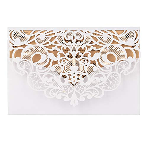 White Laser Cut Wedding Invitations Kit FOMTOR Lace Wedding Invitations with Envelopes and Inner Sheets for Wedding,Birthday Parties,Baby Shower 50 Packs
