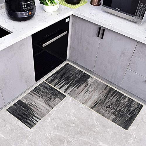 Alfombra de Cocina felpudos para Interiores y Exteriores alfombras de Cocina Antideslizantes Lavables Cojzlx Carvapet Alfombras Cocina Goma Alfombra de Baño Ducha 2PCS 45cm X 80cm + 45cm X 160cm