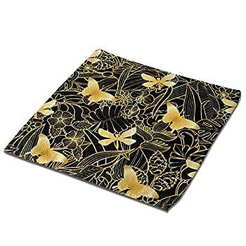 MSMM Golden Fly Dragonfly Leaf Square Washcloth Microfiber Face Towels Bath Towel Hotel & Spa Washcloths Bathroom Washcloth Towel Set 13 X 13 Inch