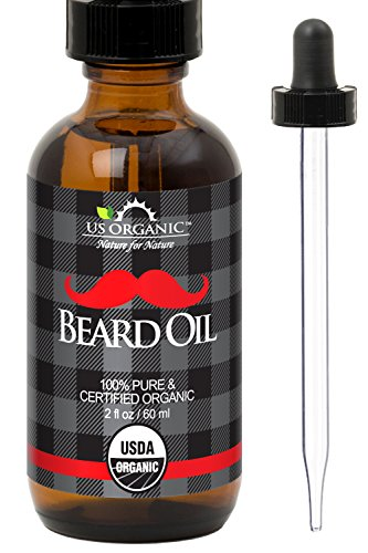 Price comparison product image US Organic Beard Oil,  100% Pure,  with Antimicrobial Properties,  USDA Certified,  Amber Glass Bottle with Eye Dropper,  2 Ounce