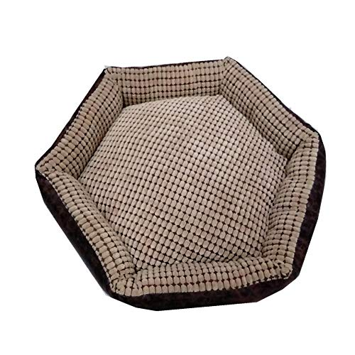 Ygccw Memory Foam Knuffel Hondenmand Bed Dekens Lounger Huisdier benodigdheden Vintage fluwelen print vier seizoenen universele kat nest bruin 40 * 36 * 16cm