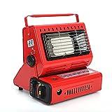 Calentador de gas portátil para pesca al aire libre, camping de 1,3 kW, calentador compacto y ligero para calentar y calentar alimentos, gas butano y gas licuado son comunes-rojo