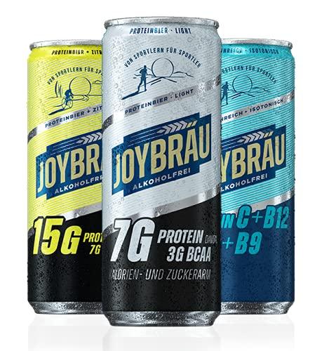 JoyBräu Proteinbier Probierpaket   Alkoholfreies Bier mit Proteinen   Proteindrink   ausgezeichneter Geschmack   bis zu 15g Protein pro Dose   12x 0,33l Dose   Inkl. 3 EUR Pfand