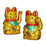 Relaxdays 2er Set Maneki Neko Winkekatze Gold, Glückskatze groß, winkende Katze China, Glücksbringer Figur, HxBxT: 16 x 10 x 8 cm
