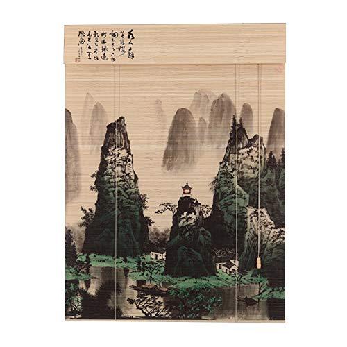 LIANGJUN Store Enrouleur Bambou Rideau Couper Naturellement Bande De Bambou Étroitement Tissé Impression Mur De Fond Personnalisable (Couleur : B, taille : 100x180cm)