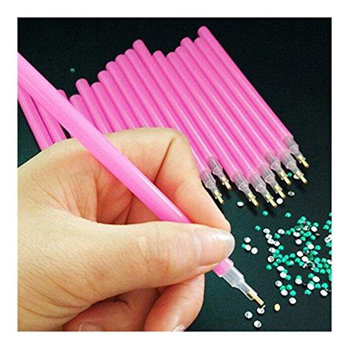 BORN PRETTY Picker für Maniküre, Nagelkunst, 1 Stück, Rosa, für Strass, Schmucksteine, Punkte, Nagelkunst-Werkzeug