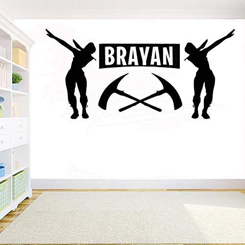 AGjDF Spielername Verfallende Raumdekoration Wandaufkleber Personalisierter Name des Kinderzimmers DIY Vinyl Wandkunst Aufkleber Videospiel Wandbild 87x42cm